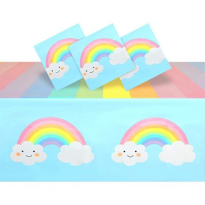"""Blue Panda 3 Pack Plastic Tablecloths for Rainbow Baby Shower Decorations, 54x108"""""""