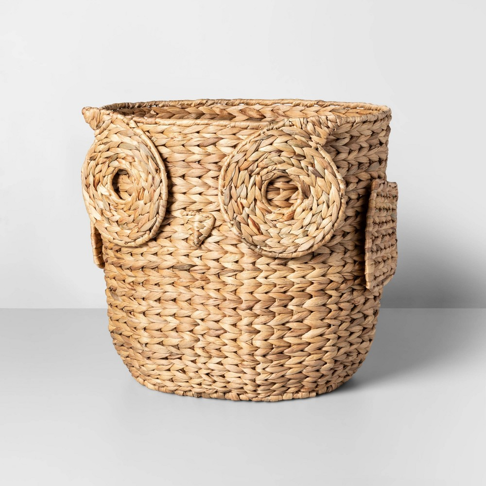 "Image of ""17"""" x 13.4"""" Water Hyacinth Owl Basket Natural - Opalhouse , White"""