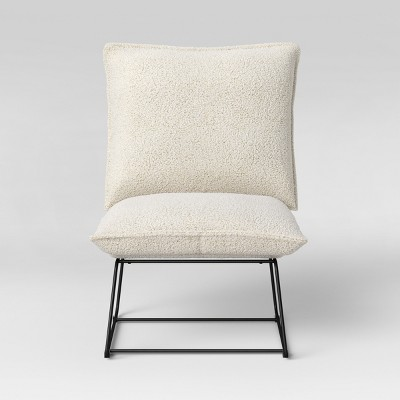 Massey Faux Fur Metal Base Slipper Chair Nubby Ivory - Project 62™
