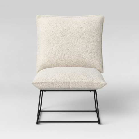 Massey Faux Fur Metal Base Slipper Chair Nubby Ivory - Project 62™ - image 1 of 4