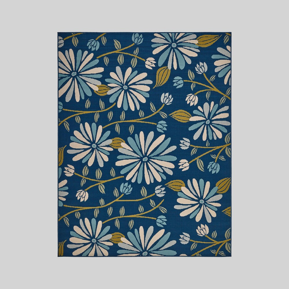 7'10 x 10' Daisy Floral Outdoor Rug Blue/Ivory - Christopher Knight Home