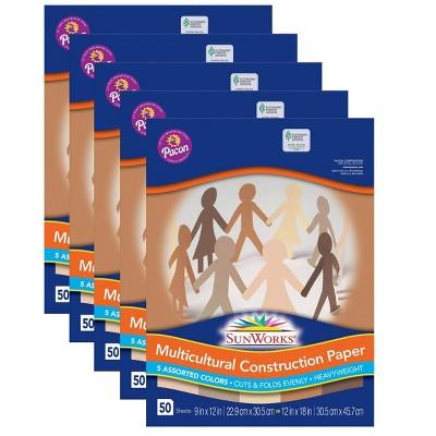 5pk 50 Sheets/Pk SunWorks Multicultural Construction Paper - Pacon