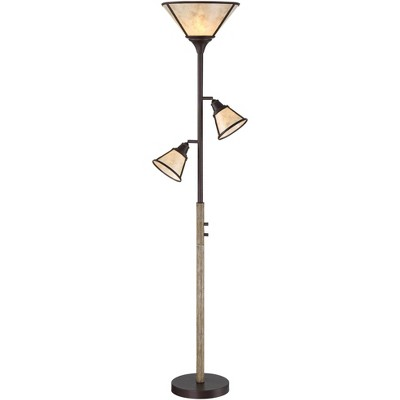 Franklin Iron Works Rustic Farmhouse Torchiere Floor Lamp 3-Light Tree Bronze Faux Wood Mica Shade Dimmable for Reading Bedroom