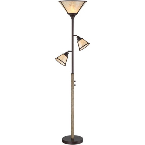 Franklin Iron Works Rustic Farmhouse Torchiere Floor Lamp 3-Light Tree Bronze Faux Wood Mica Shade Dimmable for Reading Bedroom - image 1 of 4