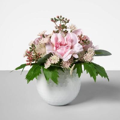 """6.5"""" x 5"""" Artificial Floral Arrangement in Ceramic Pot Pink - Opalhouse™"""