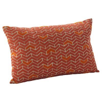 """Red Marcella Chevron Design Throw Pillow (14""""x22"""")- Saro Lifestyle"""