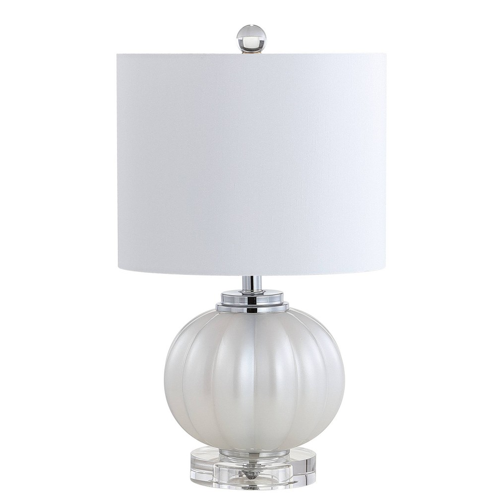 "Image of ""17.5"""" Pearl Glass/Crystal LED Table Lamp White/Silver (Includes Energy Efficient Light Bulb) - JONATHAN Y"""