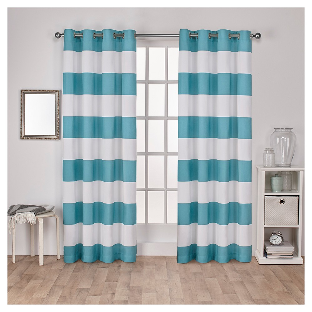 Surfside Cotton Cabana Stripe Window Curtain Panel Pair Teal (Blue) (54
