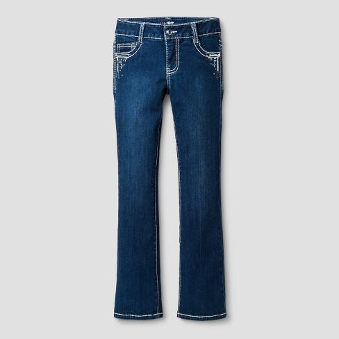 b1c9a302237 Girls First™ Girls  Bootcut Jeans with Rhinestone Details - Dark Denim Wash