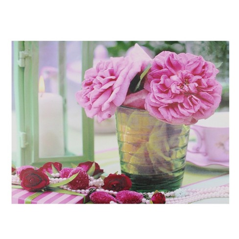 """Northlight Valentine's Day 11.75"""" x 15.75"""" Prelit LED Flickering Candle and Pink Rose Flowers Glass Candles Canvas Wall Art - image 1 of 2"""