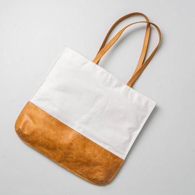 Canvas & Leather Tote Bag Cream/Tan - Hearth & Hand™ with Magnolia