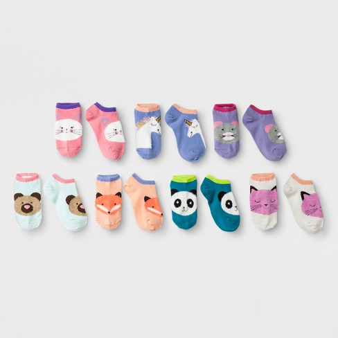 Girls' 7pk Fuzzy Critters No Show Socks - Cat & Jack™ - image 1 of 1
