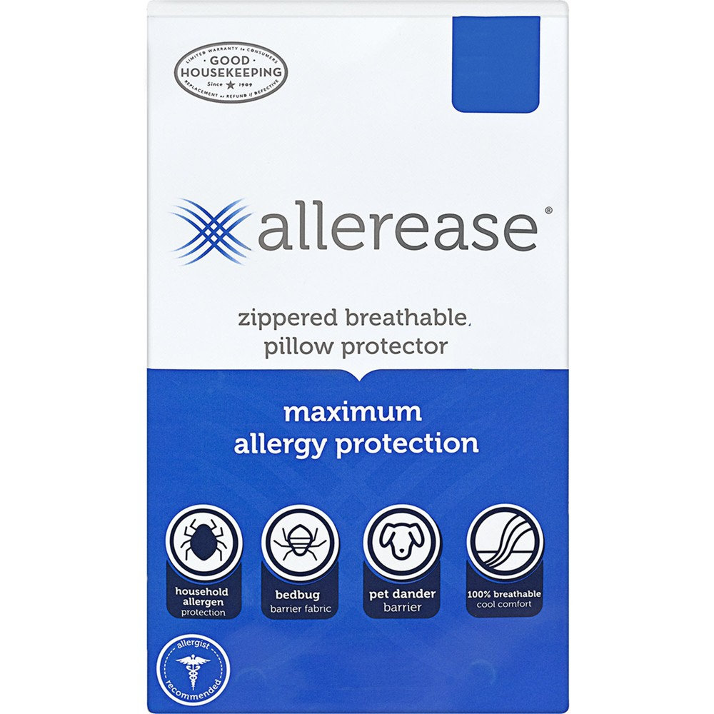 Image of Standard/Queen Maximum Bed Bug and Allergy Protection Pillow Protector White - AllerEase