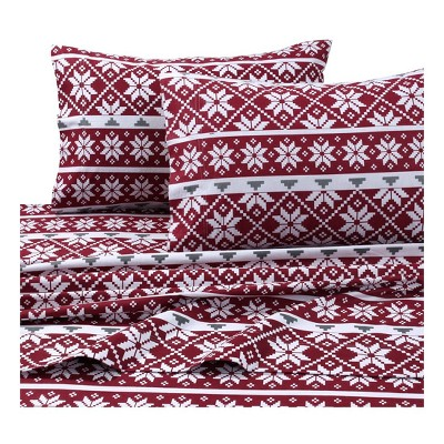 Tribeca Living Printed Cotton Flannel Extra Deep Pocket Sheet Set Queen - Red/White