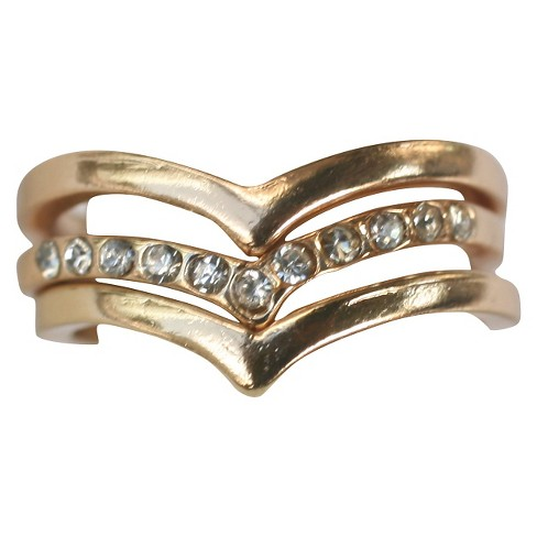 Zirconite Knuckle Chevron Ring with Crystal Accents - Gold - image 1 of 1