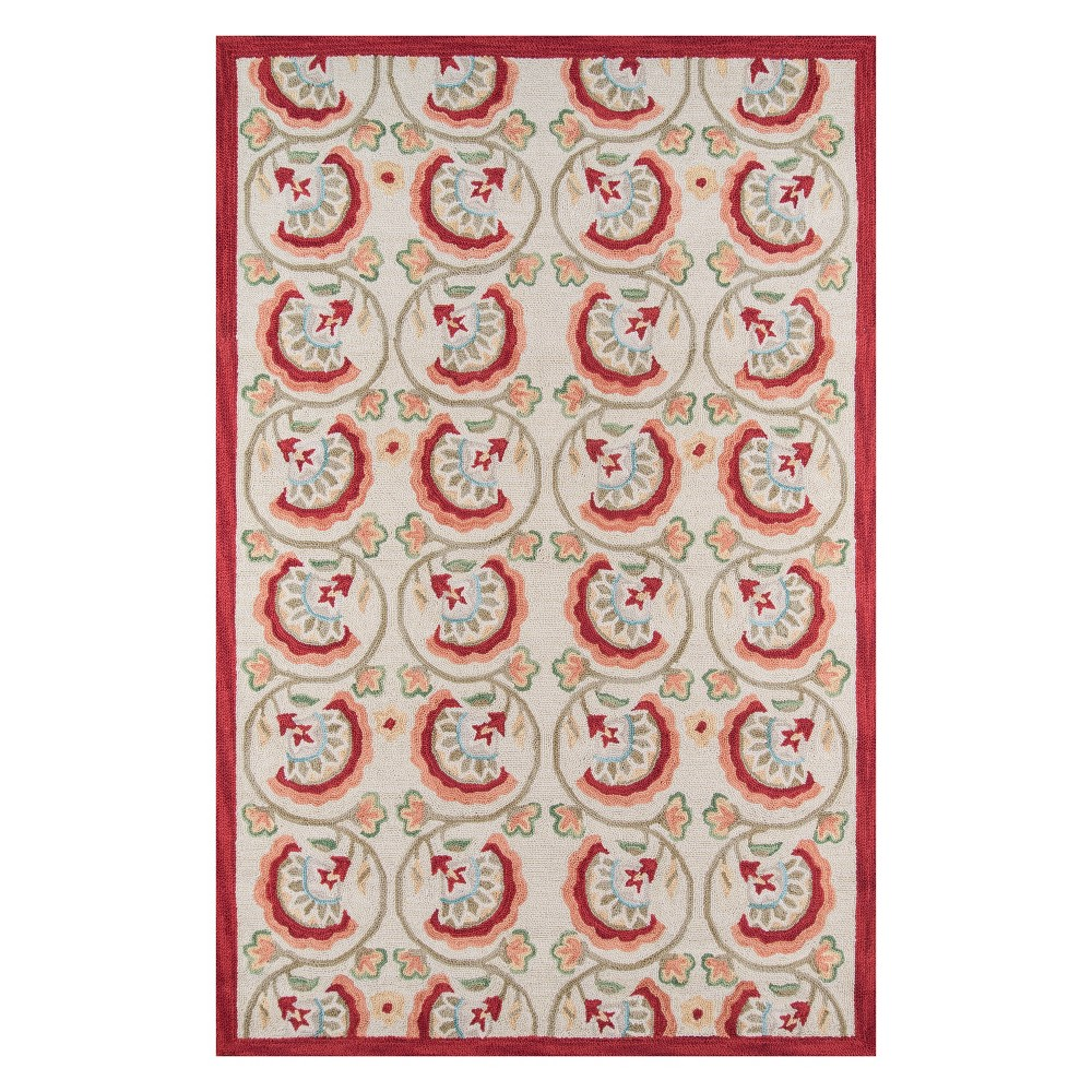 8'X10' Floral Hooked Area Rug Red - Momeni