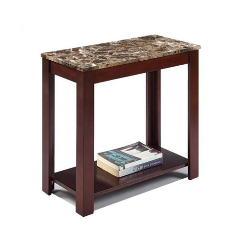 Impressive Chairside Table with Marble Top Brown - Benzara - image 1 of 2
