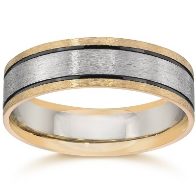 Pompeii3 Double Inlay Brushed Wedding Band 14K White & Yellow Gold