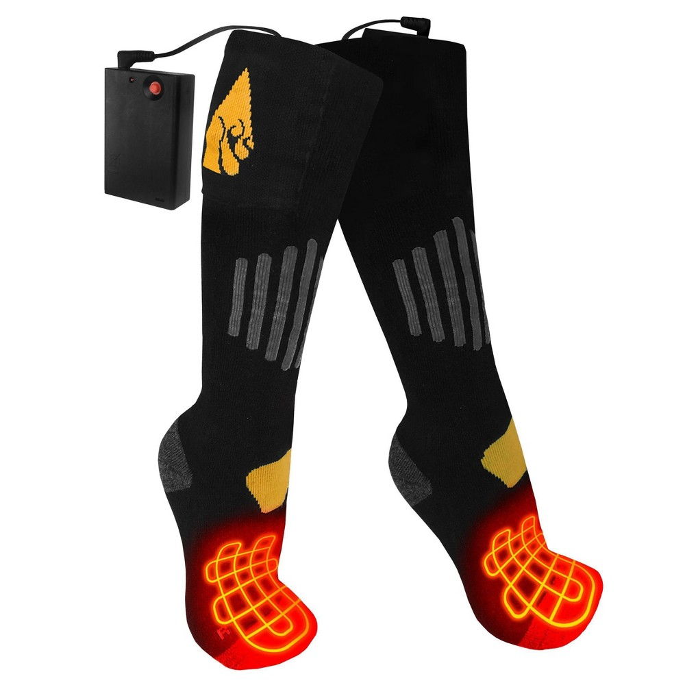 Image of ActionHeat Cotton AA Battery Heated Socks - Black L/XL, Size: Large/XL