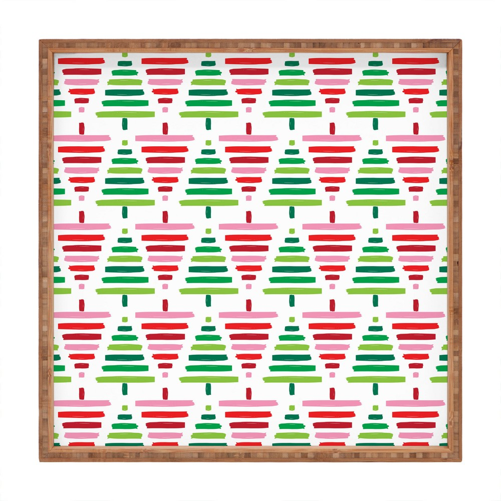 Zoe Wodarz Painted Forest Tray (16) - Deny Designs, Green Red