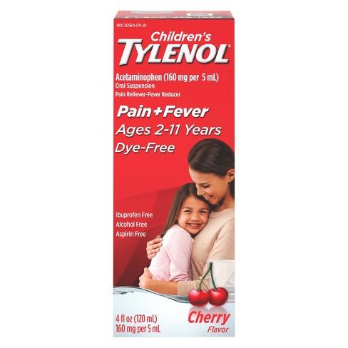 Children's Tylenol Dye-Free Pain + Fever Relief Liquid - Acetaminophen - Cherry - 4 fl oz - image 1 of 4