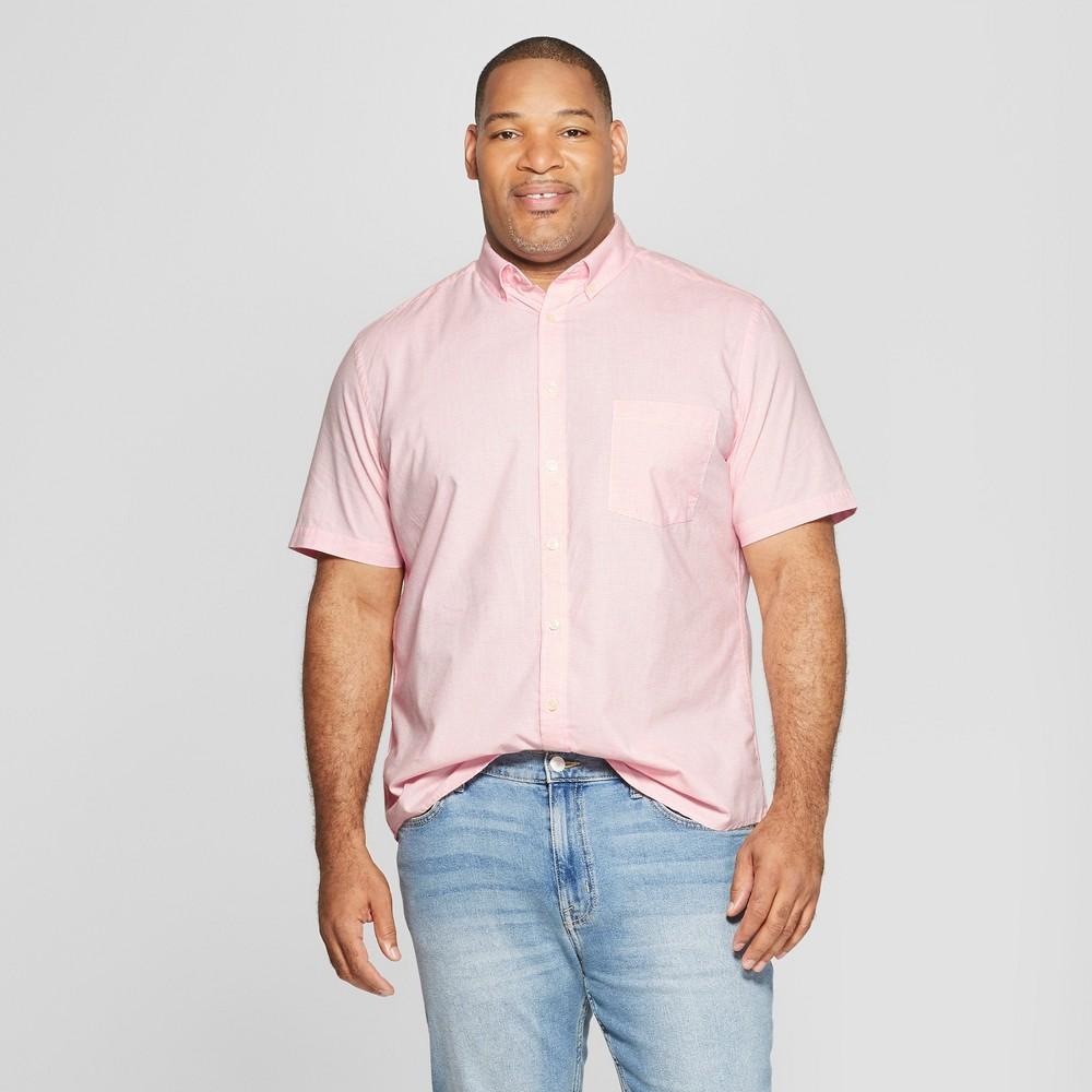 Men's Big & Tall Standard Fit Striped Short Sleeve Poplin Button-Down Shirt - Goodfellow & Co Georgia Peach 4XB, Orange
