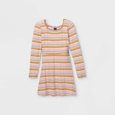 Girls' Square Neck Long Sleeve Knit Dress - art class™