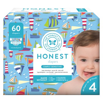Honest Company Disposable Diapers, Boat Races - Size 4 (60ct)
