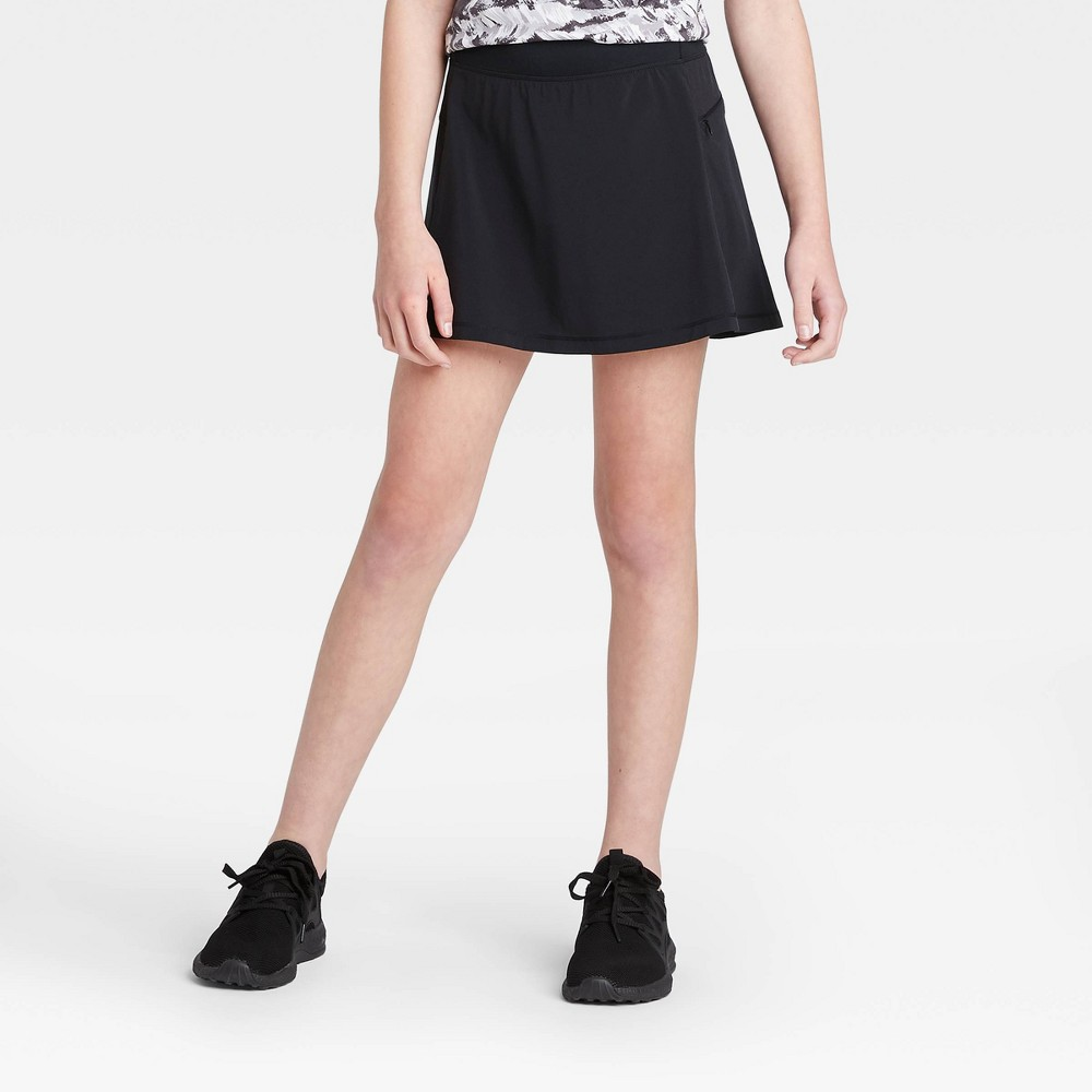 Image of Girls' Stretch Woven Performance Skort - All in Motion Black L, Girl's, Size: Large