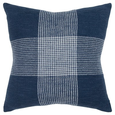 Plaid Poly Filled Square Pillow Indigo - Rizzy Home
