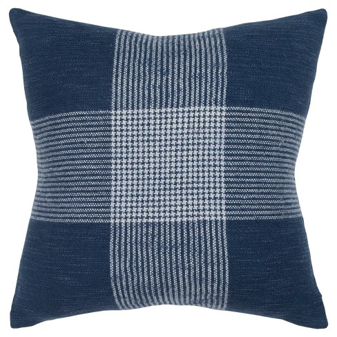 Plaid Poly Filled Square Throw Pillow - Rizzy Home - image 1 of 4