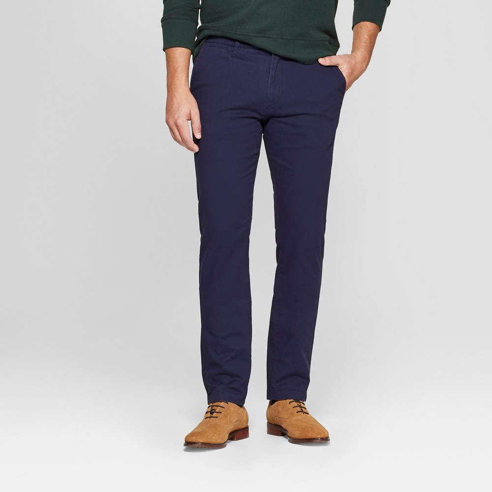 Men's Slim Fit Hennepin Chino Pants - Goodfellow & Co Navy 38x34, Blue