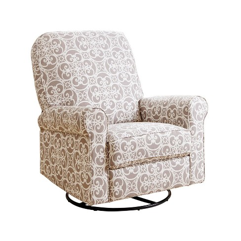 Amazing Perth Fabric Swivel Glider Recliner Chair Gray Floral Abbyson Living Gmtry Best Dining Table And Chair Ideas Images Gmtryco
