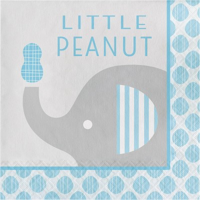 48ct Little Peanut Boy Elephant Disposable Napkins Blue