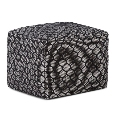 Simpson Square Pouf Black, Natural - Simpli Home - image 1 of 5