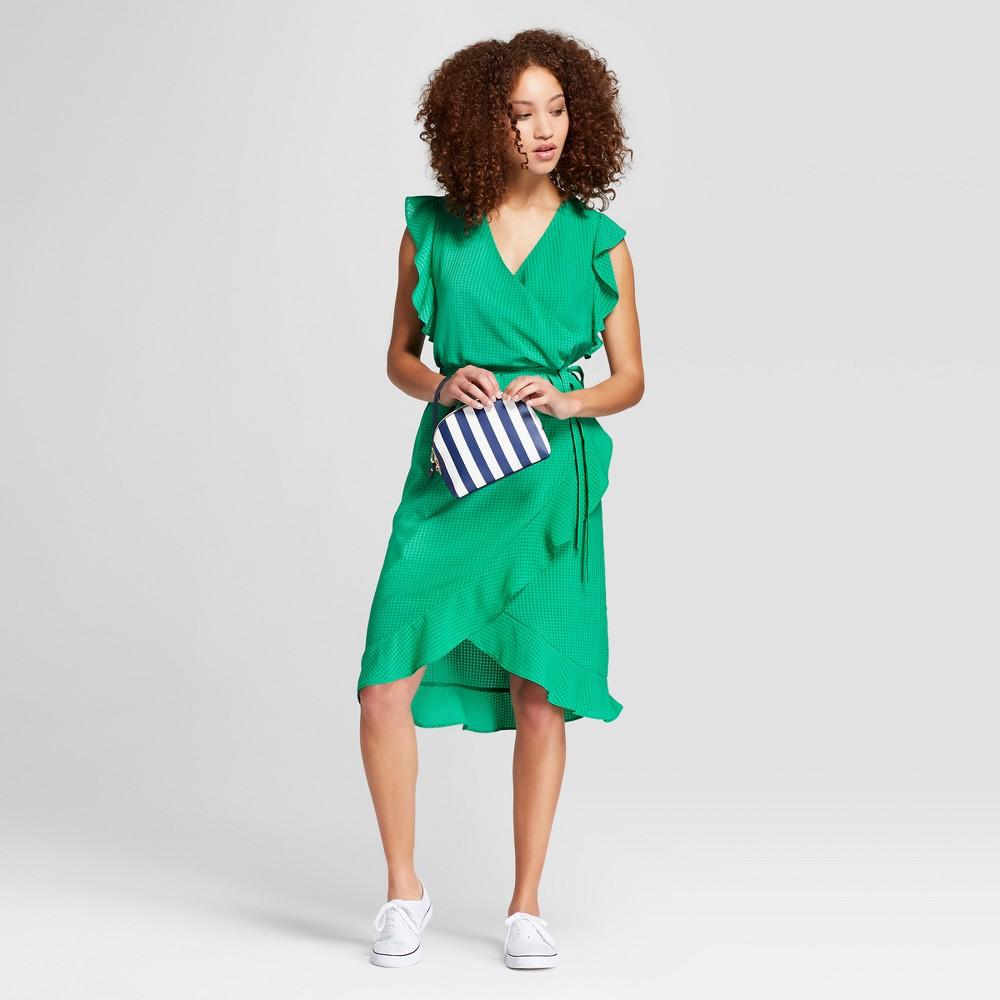Women's Short Sleeve Ruffle Wrap Dress - A New Day Green Xxl