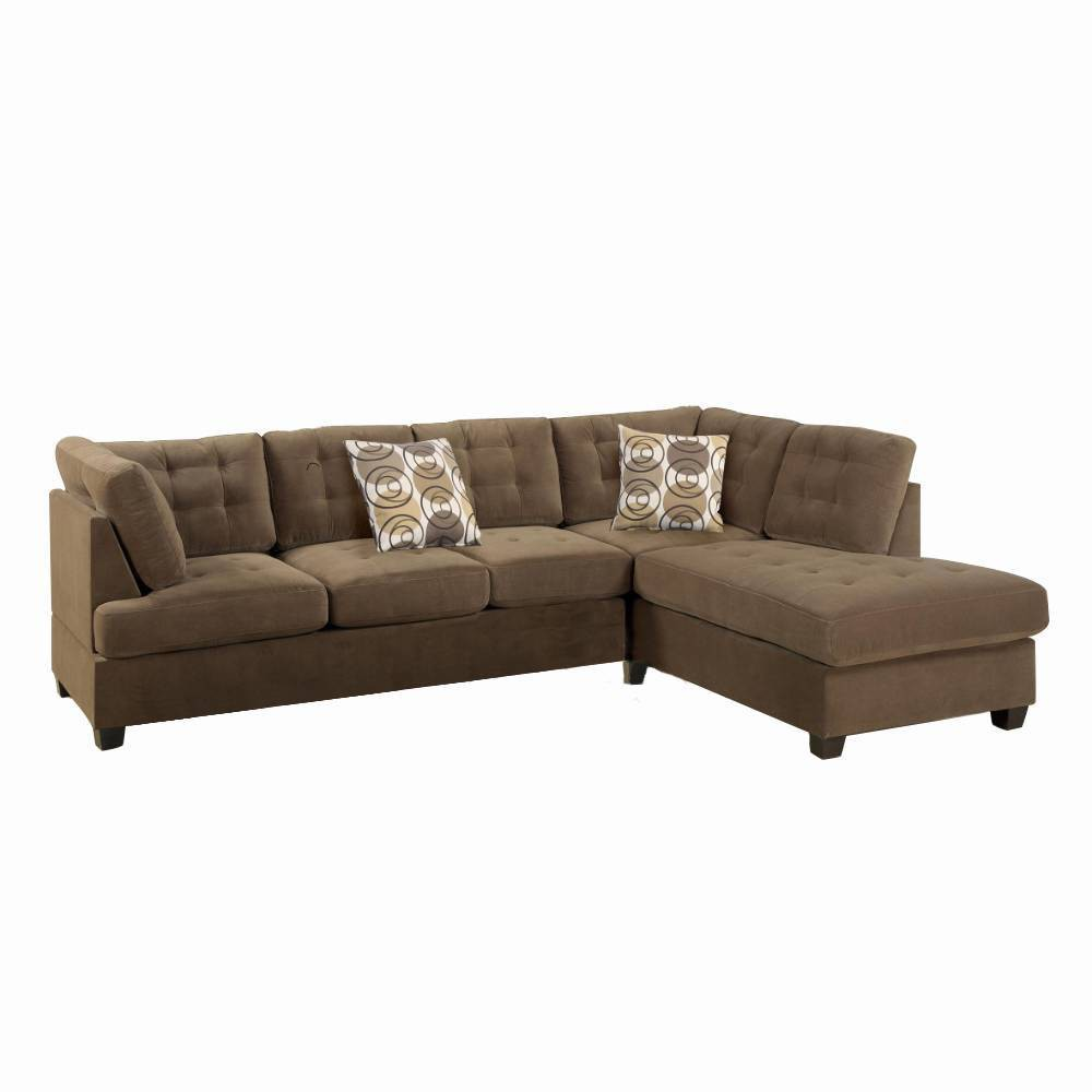 Image of 2pc Luxurious And Plush Corduroy Sectional Sofa Brown - Benzara