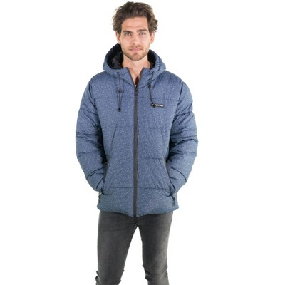 Members Only Mens Heather Print Puffer Jacket with Hood