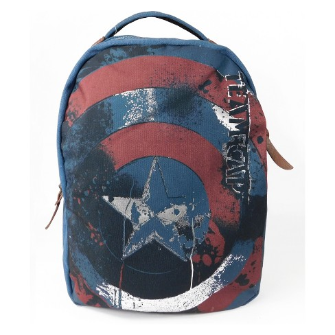 "Marvel Captain America 17"" Canvas Backpack - Navy - image 1 of 5"