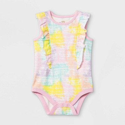 Baby Girls' Tie-Dye Ruffle Short Sleeve Bodysuit - Cat & Jack™ 0-3M