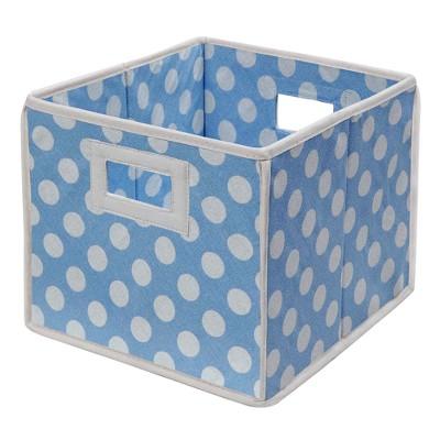 Badger Basket Company Polka Dot Fabric Cube - Blue