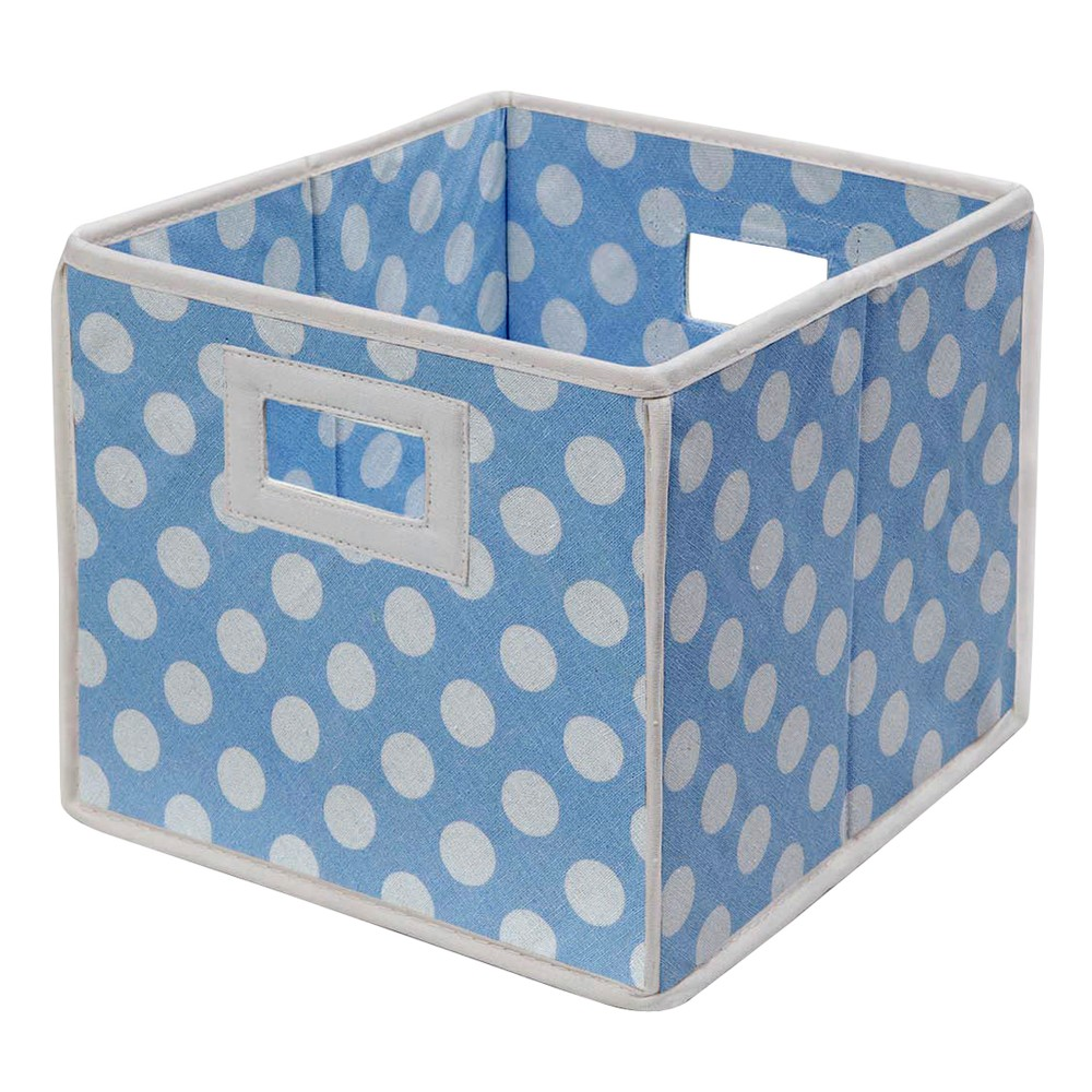 Badger Basket Company Polka Dot Fabric Cube - Blue