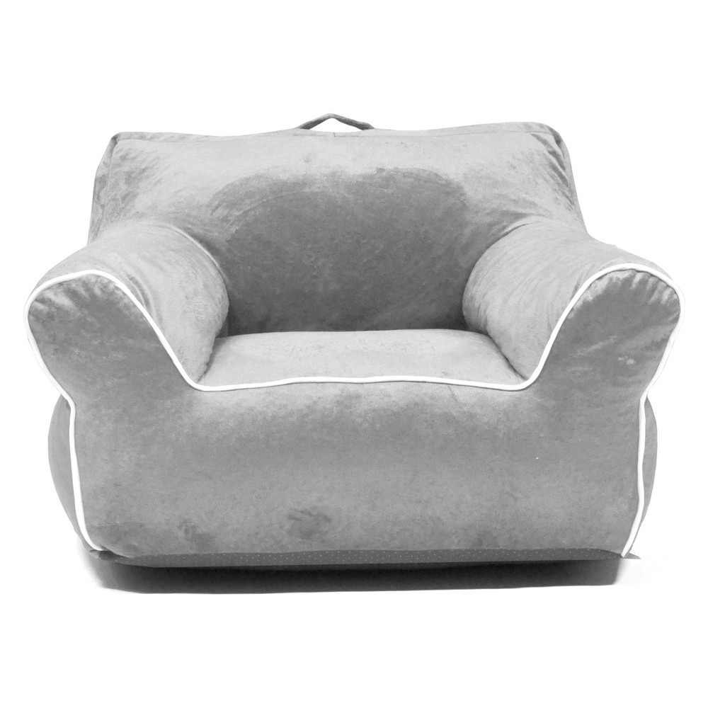 Bean Bag Chair with Piping Silver - Heritage Club, Gray