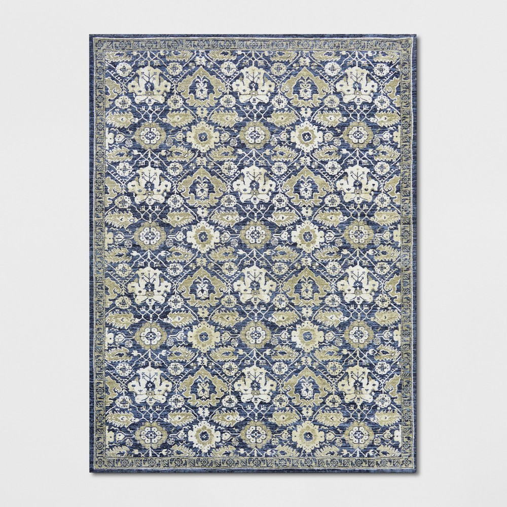 9'x12' Floral Woven Area Rug Blue - Threshold
