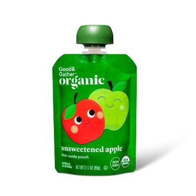 Organic Apple Sauce Pouch - Unsweetened Apple - 3.17oz - Good & Gather™