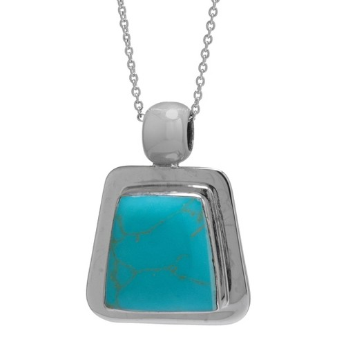 "Silver Plated Turquoise Inlay Framed Pendant - 18"" - image 1 of 1"