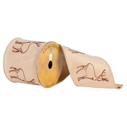 "4"" Tan Embroidered Reindeer Ribbon 30ft - image 1 of 1"