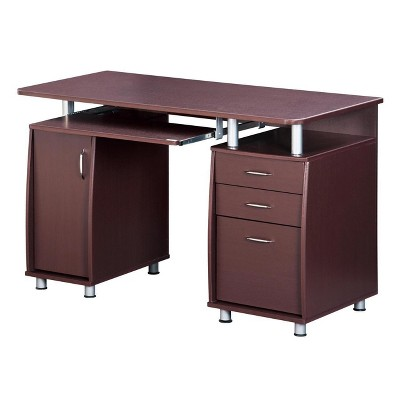 Complete Workstation Computer Desk with Storage Brown - Techni Mobili