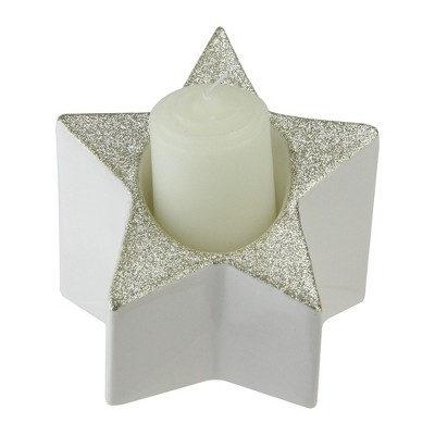 "Northlight 4"" Glittered and Star Shaped Pillar Candle Holder - Silver"