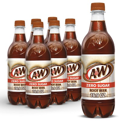 A&W Root Beer Zero Sugar Soda - 6pk/0.5 L Bottles